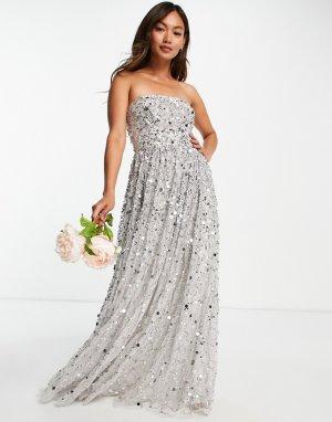 Свадебное платье-бандо макси со сплошной отделкой нежно-серыми 3D-пайетками Bridal-Серый Maya