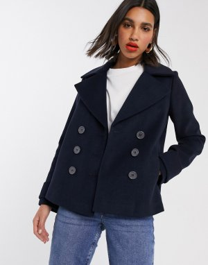 Темно-синее двубортное пальто-бушлат -Темно-синий Miss Selfridge
