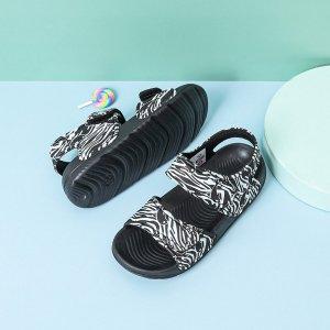 Детские спортивные сандалии с принтом зебры на липучке SHEIN. Цвет: черный и белый
