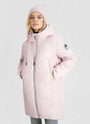 Утепленная длинная куртка с капюшоном O`Stin. Цвет: холодный розовый