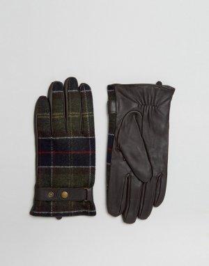 Кожаные перчатки со вставками в шотландскую клетку -Коричневый Barbour