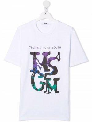 TEEN logo-print cotton T-shirt MSGM Kids. Цвет: белый