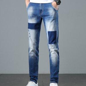 Мужской Зауженные джинсы рваный SHEIN. Цвет: синий цвет средней стирки