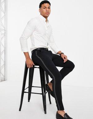 Супероблегающий смокинг с брюками в однотонную полоску горошек -Черный цвет ASOS DESIGN