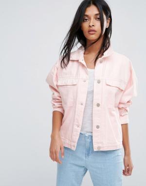 Розовая джинсовая оверсайз-куртка Karin Waven. Цвет: розовый