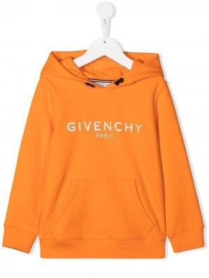 Худи с логотипом Givenchy Kids. Цвет: оранжевый