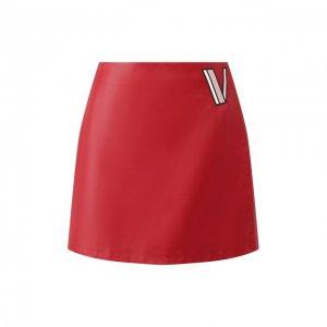 Кожаная юбка Valentino. Цвет: красный