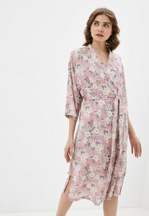 Халат и сорочка ночная Kaftan. Цвет: розовый
