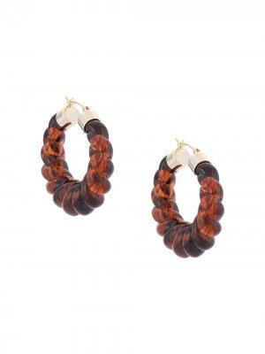 Серьги-кольца Janis Loeffler Randall. Цвет: коричневый