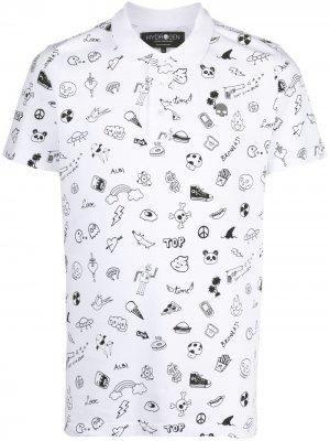 Рубашка поло с графичным принтом Hydrogen. Цвет: белый