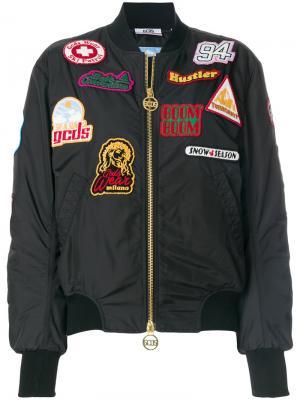 Куртка-бомбер с нашивками Gcds. Цвет: чёрный
