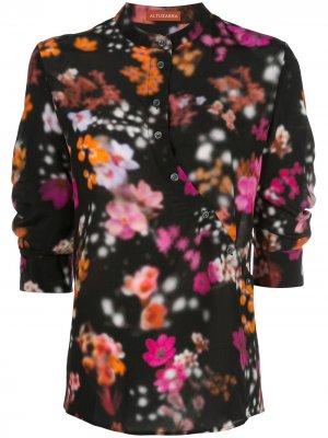 Рубашка с цветочным принтом без воротника Altuzarra. Цвет: черный