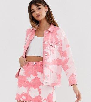 Розовая джинсовая куртка с принтом тай-дай -Мульти Monki