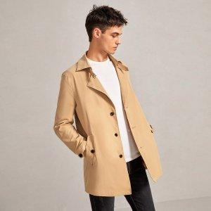Мужской Куртка с карманом на пуговицах SHEIN. Цвет: хаки