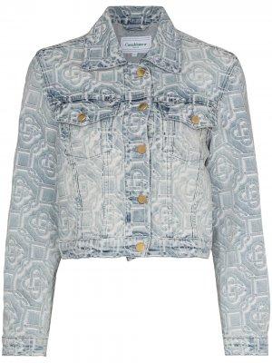 Джинсовая куртка с принтом Casablanca. Цвет: синий