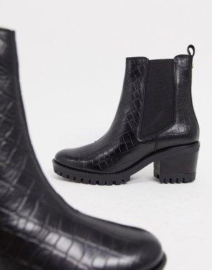 Черные ботинки челси на массивной подошве и каблуке -Черный Dune