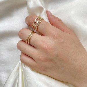 2шт Открытое кольцо SHEIN. Цвет: золотистый
