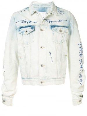 Джинсовая куртка с разрезами на рукавах Ground Zero. Цвет: синий