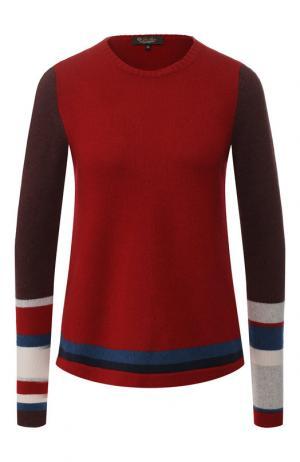 Кашемировый пуловер с контрастной полоской Loro Piana. Цвет: красный