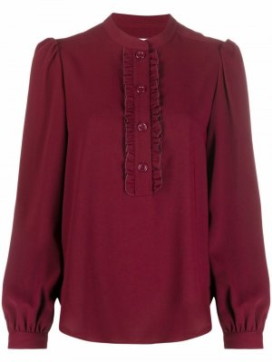 Ruffle-detail long-sleeved blouse See by Chloé. Цвет: красный