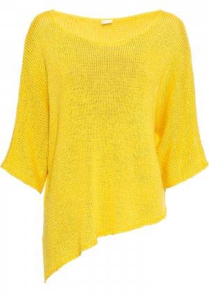 Пуловер вязаный bonprix. Цвет: желтый