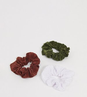 Набор из 3 резинок для волос (коричневая/цвета хаки/белая) -Мульти ASOS DESIGN