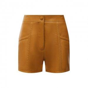 Кожаные шорты Saint Laurent. Цвет: коричневый