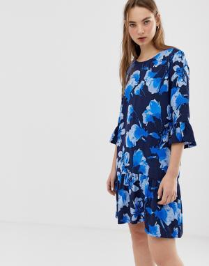 Платье с цветочным принтом и рукавами клеш -Мульти Minimum