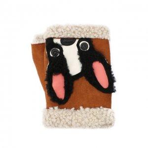 Замшевые митенки с аппликацией Agnelle. Цвет: коричневый
