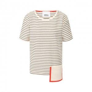 Хлопковая футболка Erika Cavallini. Цвет: чёрно-белый