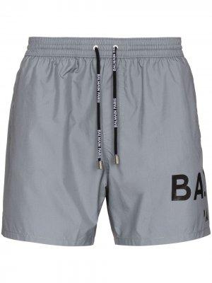 Плавки-шорты с логотипом Balmain. Цвет: серый