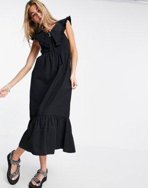 Черное присборенное платье миди с большим воротником -Черный цвет Topshop