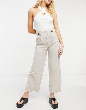 Светло-бежевые брюки из джерси с широкими штанинами -Серый JDY