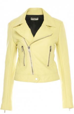 Куртка кожаная Balenciaga. Цвет: желтый