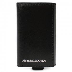 Кожаный футляр для ключей Alexander McQueen. Цвет: чёрный
