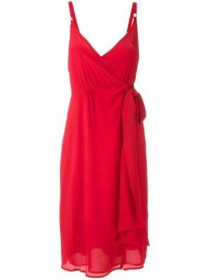 Платье с запахом и драпировкой Eva. Цвет: красный
