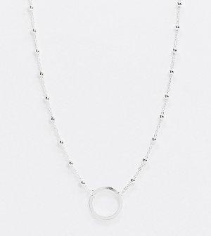 Эксклюзивное серебряное ожерелье-чокер с подвеской-кольцом -Серебристый Kingsley Ryan