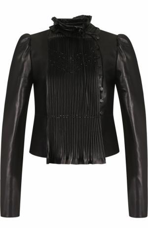 Укороченная кожаная куртка с воротником-стойкой Valentino. Цвет: черный
