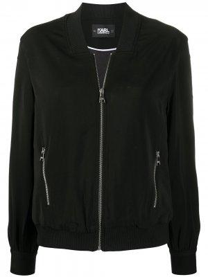 Куртка-бомбер с кнопками на рукавах Karl Lagerfeld. Цвет: черный