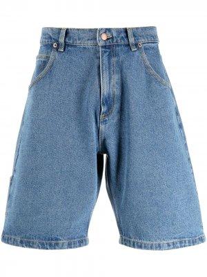 Джинсовые шорты с вышивкой PACCBET. Цвет: синий