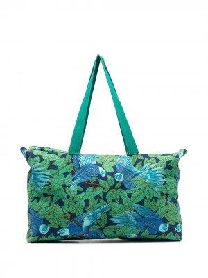 Пляжная сумка pre-owned с принтом Hermès. Цвет: зеленый