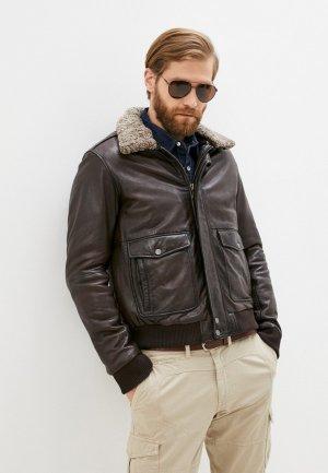 Куртка кожаная Serge Pariente. Цвет: коричневый