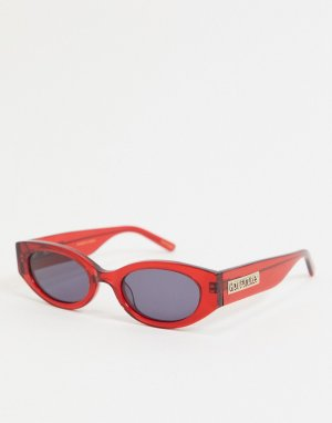 Солнцезащитные овальные очки в стиле ретро -Красный Hot Futures