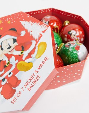 Набор из 7 новогодних игрушек Микки и Минни Маус-Мульти Disney