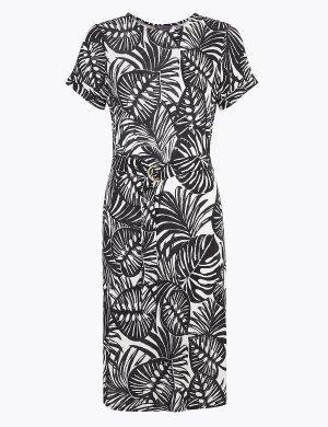 Пляжное платье из джерси с монохромным принтом M&S Collection. Цвет: черный микс