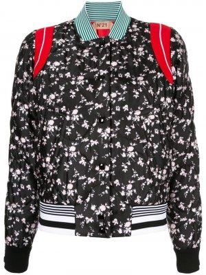 Куртка-бомбер с цветочным принтом Nº21. Цвет: черный