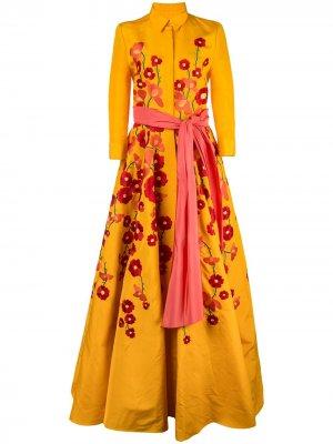 Вечернее платье-рубашка с цветочной вышивкой Carolina Herrera. Цвет: желтый
