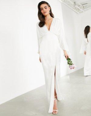 Атласное свадебное платье с запахом и рукавами-кимоно Cari-Белый ASOS EDITION