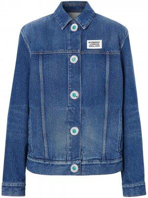Джинсовая куртка с логотипом Burberry. Цвет: синий