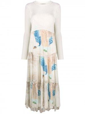 Bird-print midi dress AllSaints. Цвет: нейтральные цвета